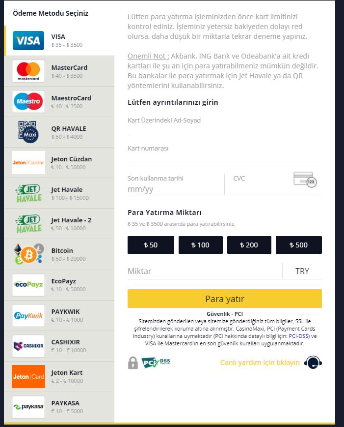 Casino Maxi Para Yatırma Seçenekleri
